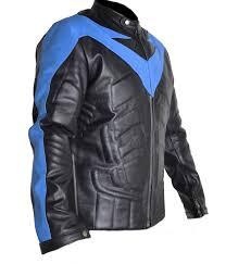 blue motorcycle jacket nightwing men u0027s motorcycle leather costume movies filmstar