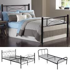platform metal bed frame foundation headboard furniture bedroom