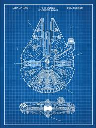 millennium falcon design patent art poster thrftster
