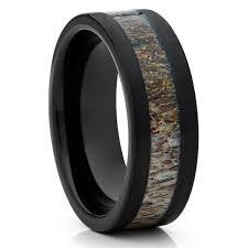 Deer Antler Wedding Rings by Deer Antler Tungsten Wedding Band Black Ring Antler Wedding