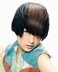 ear length asian hairstyle with a short cropped neck and highlights