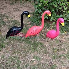 1 pair plastic pink flamingo garden courtyard landscape decoration