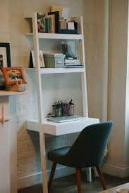 Ladder Bookcase Desk Combo Home Office In An Apartment Leaning Desk Apartment Office And