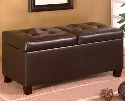 Hinged Storage Ottoman Dark Brown Faux Leather Rectangular Storage Ottoman With Hinged