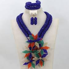 bead necklace style images Latest style new flower white blue handmade crystal african jpg