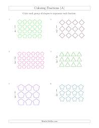 coloring groups of shapes to represent fractions a