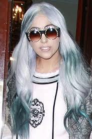 black hair with grey streaks lady gaga wears grey blue and black hair