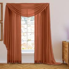 Orange And Brown Curtains Burnt Orange Sheer Curtains Wayfair