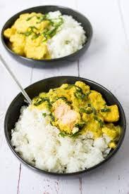 cuisiner saumon congelé curry au saumon recette facile et rapide sur la godiche