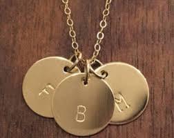 Three Initial Monogram Necklace Custom Three Initials Sterling Silver Necklace Monogram