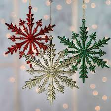 metallic glittered snowflake ornaments snow snowflakes