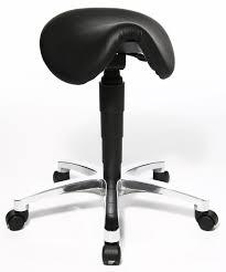 tabouret ergonomique bureau siege selle de cheval en cuir noir biel