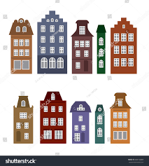 amsterdam style houses laser cut silhouette stock vector 650135095