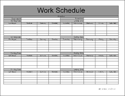 Monthly Work Schedule Template Excel Free Basic Monthly Work Schedule From Formville
