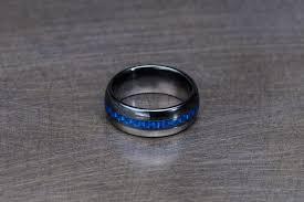 thin blue line wedding band ring thin blue line ceramic wedding band hometown