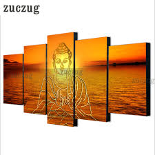 online buy wholesale buddha statue home decor from china buddha unframed 5 piece modern hd indian buddha statue painting wall art picture canvas print yoga picture