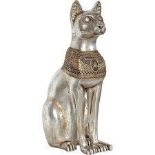 bast cat goddess 29 inch high statue silver gold collar