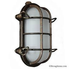 Bulkhead Outdoor Lights Oval Bulkhead Flush Outdoor Wall Light Small Aged Copper Outdoor