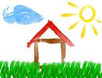 casa disegno dipinga il disegno della casa e di sole fatti dal bambino 51191584