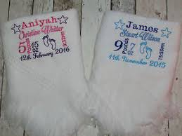 keepsake baby gift personalised baby blanket shawl birth details embroidered new baby