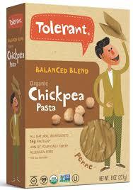 tolerant organic vegan and gluten free chickpea pasta