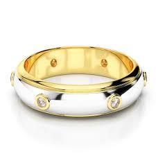 fusion wedding band white yellow gold mens fusion diamond wedding ring agdr 1336