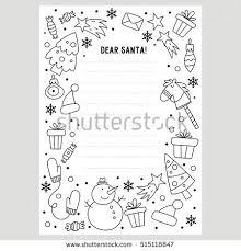 santa letter coloring page hello winter vector doodle winter symbols stock vector 332945543
