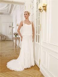 chiffon lace bohemian casual beach wedding dress with buttons