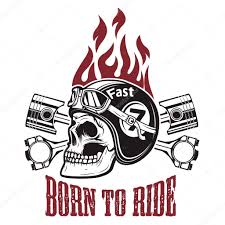 born to ride skull in motorcycle helmet with crossed pistons d