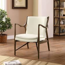 portable white cream leather lounge chair combined two tones wall