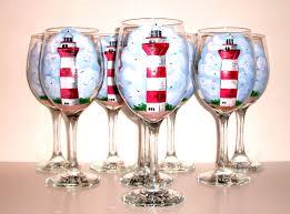 beautiful wine glasses hilton head lighthouse hand painted wine glasses set of 8