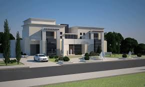 great design modern architecture villas with grey stone wall can