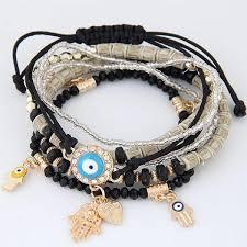 bead bracelet with heart charm images Kabbalah fatima hamsa evil eye heart charm multilayer turkish jpg