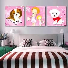 panneau de chambre chambre pour 3 filles 3 panneau peinture image mignon chien enfant