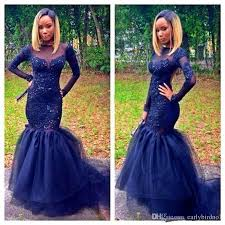 dark navy mermaid long sleeve prom dresses 2k16 black couples