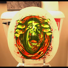 haunted house blood monster zombie ghoul toilet cover halloween