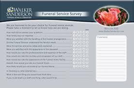 walker sanderson funeral home survey card taylor graphics llc