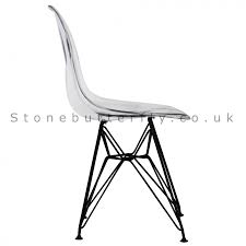 ray eames style dsr side chair black legs clear