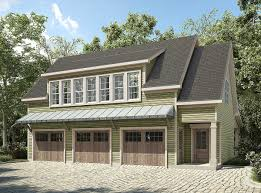 plan 36057dk 3 bay carriage house plan with shed roof in back