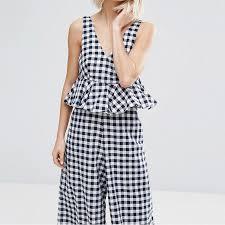 cotton jumpsuit v neck plaid jumpsuits wide leg falbala