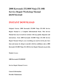 2008 kawasaki zx1000 ninja zx 10r service repair workshop manual