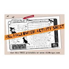 printable halloween activity sign language