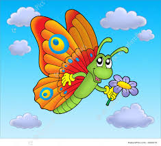 butterfly with flower on blue sky illustration