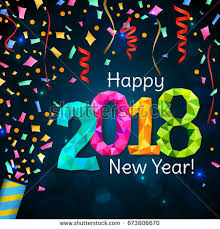 new years party poppers happy new year 2018 greeting card stock vector 673806655