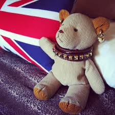 British Flag Pillow My Teddy Project Little Brown Teddy Bear In The Style Of Rock N