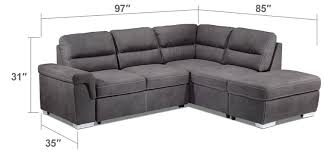 King Koil Sofa Bed by Simone 3 Piece Right Facing Sofa Bed Sectional Charcoal Leon U0027s
