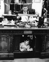 Resolute Desk President John F Kennedy U0026 Son At Resolute Desk Oval Office 8x10