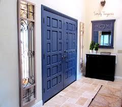 a disneyland inspired front door painted blue gaspe by benjamin