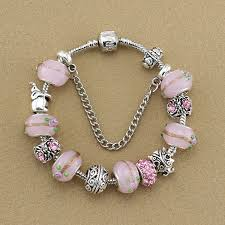 pink glass bead bracelet images Omoon 2016 new fashion pink glass beads ladybug bracelets jpg
