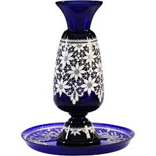 Italian Vase Vintage Italian Marco Testolini Vase U0026 Tray Royal Blue Art Glass